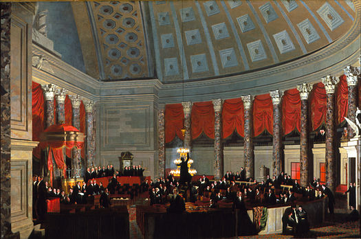 Samuel F.B. Morse's 1823 oil painting House of Representatives depicts a night session of the United States House of Representatives in the old Hall of the House. SFBMorseHAllHoR.jpg