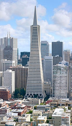 The Transamerica Pyramid was the tallest building in San Francisco until 2016, when Salesforce Tower surpassed it. SF Transamerica full CA.jpg