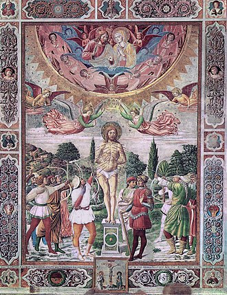 Collegiate Church of San Gimignano - The Martyrdom of St Sebastian by Benozzo Gozzoli (1465) honours the saint who was invoked in times of plague.