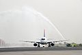 SSJ100 and the water cannon (6082457396).jpg