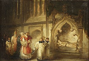 Richard Stapledon - Painting by Solomon Hart, 1884, titled The Monument of Richard Stapleton in Exeter Cathedral