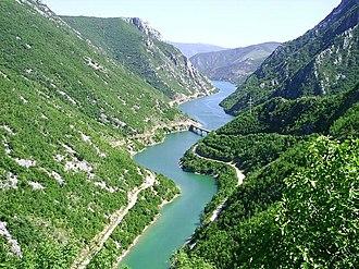 Mostarska Bijela - The Bijela confluence with the Neretva - Salakovac artificial rezervoir covers the mouth and cca. 1 kilometers of the river.