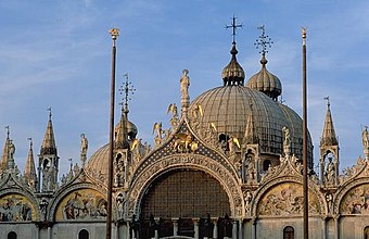 San Marco in the evening.  The spacious, resonant interior was one of the inspirations for the music of the Venetian School.