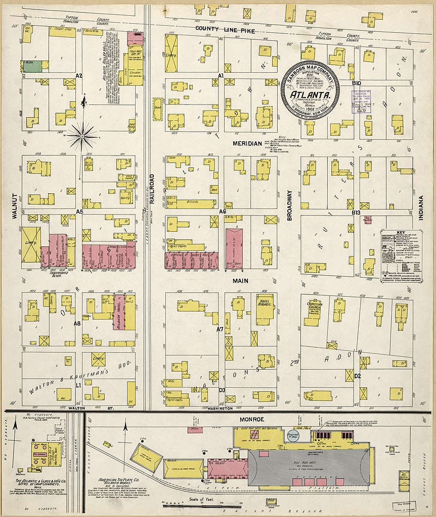 Atlanta Indiana Map.File Sanborn Fire Insurance Map From Atlanta Hamilton And Tipton
