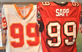 Warren Sapp - Sapp jerseys shown at Pro Football Hall of Fame in Canton, OH.