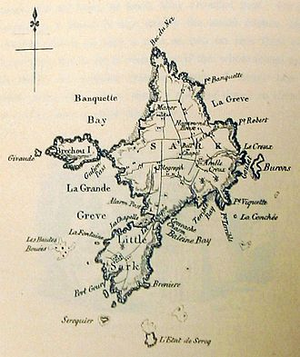 Little Sark - In this 1857 map, Little Sark can be seen in the south.