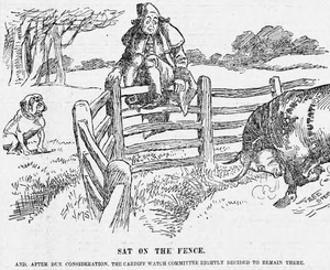 """Watch committee - """"Sat on the Fence""""; J. M. Staniforth. The Cardiff Watch Committee literally sits on the fence on the matter of deputising either a member of the Catholic church (represented by a bulldog) and a Protestant candidate (represented by a bull)."""