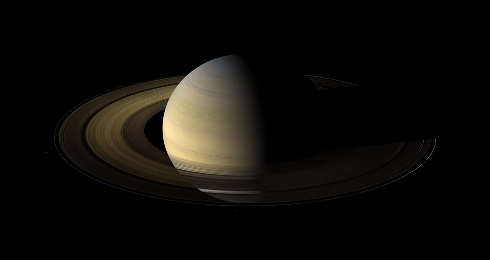 Saturn, its rings, and a few of its moons