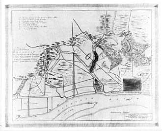 Capture of Savannah - An 1891 copy of a map depicting the action (note that south is to the top)