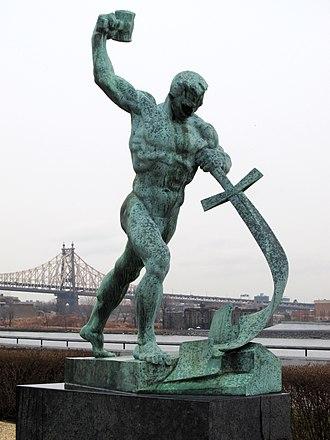 Yevgeny Vuchetich - Image: Schwerter zu Pflugscharen Jewgeni Wutschetitsch Geschenk der Sowjetunion an die UNO 1959