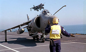Sea Harriers landing on HMS Illustrious (R06) 1998.JPEG
