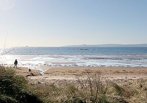 Firth of Clyde - The Seamill beach looks south down the outer firth towards southern Arran and Ailsa Craig