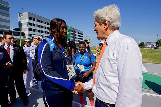 Secretary Kerry shakes hands with U.S. Women's Track and Field coach Connie Price-Smith at the Brazilian Naval Academy in Rio de Janeiro (28172686273).jpg