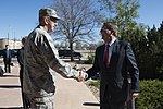 Secretary of Defense Ash Carter is greeted by Gen. John E. Hyten Commander, Air Force Space Command.jpg