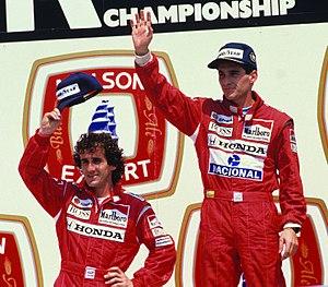 f459b531d5be5 Alain Prost and victor Ayrton Senna at Grand Prix Molson du Canada at  Montreal