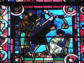 Savinian and Potentian - The Martyrdom of Saint Savinian.  Church of Saint-Étienne de Sens.