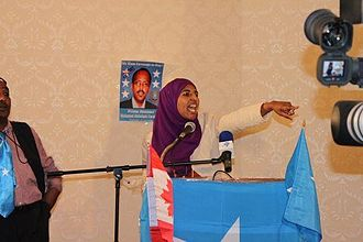 Mohamed Abdullahi Mohamed - Somali activist Shadya Yasin energizes the crowd at a pro-Farmajo rally in Toronto (June 2011).