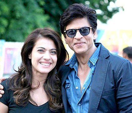 Kajol with Shah Rukh Khan filming Dilwale in 2015, for which she received her twelfth Best Actress nomination at Filmfare. Shah Rukh Khan and Kajol.jpg
