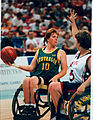 Sharon Slann to pass on Women's wheelchair basketball game, 1996.jpg