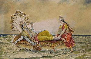 Shesha - Vishnu resting on Ananta-Shesha, with his consort Lakshmi massaging his feet