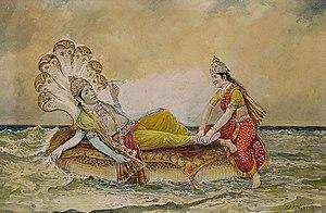 Shesha - Vishnu resting on Ananta-Shesha, with his consort Lakshmi massaging his feet