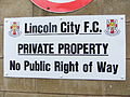 Sign, Sincil Bank stadium, Lincoln, England - DSCF1368.JPG