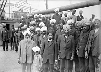 Stereotypes of South Asians - Image: Sikhs aboard Komagata Maru