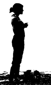 Silhoutte Standing on Seashore.png