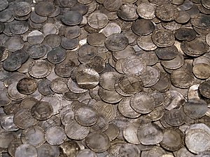 Silver coins hoard from around 1700, England -...
