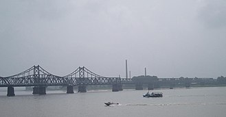 Yalu River - The Sino–Korean Friendship Bridge across the Yalu (Amnokgang) at Sinuiju and Dandong