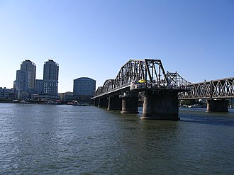 China–North Korea border - Sino-Korea Friendship Bridge, linking Dandong with North Korea