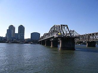 China–North Korea border - Sino–Korean Friendship Bridge, linking Dandong with North Korea