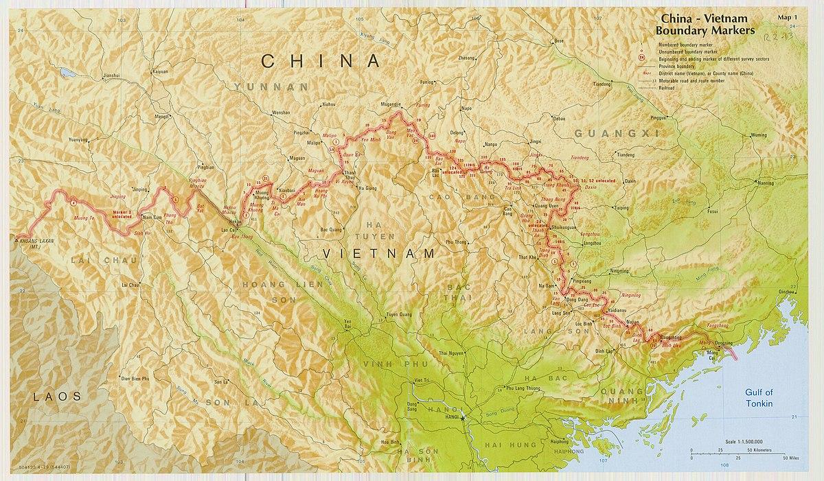 Carte Chine Frontiere.Frontiere Entre La Republique Populaire De Chine Et Le Viet