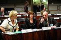 Siv Jensen (Fremskrittspartiet (FrP) Norge), Mona Sahlin (Socialdemokraterna Sverige) och Steingrimur J. Sigfusson (Vinstrihreyfingin. graent frambod (VG) Island) i plenum under Nordiska radets session i Helsingfors 2008-10-27.jpg