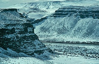 Bureau of Land Management - Snow-covered cliffs of Snake River Canyon, Idaho, managed by the Boise District of the BLM