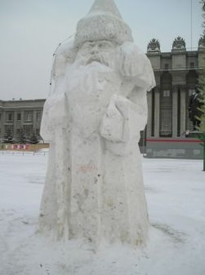 Ded Moroz - Snow sculpture of Ded Moroz in Samara