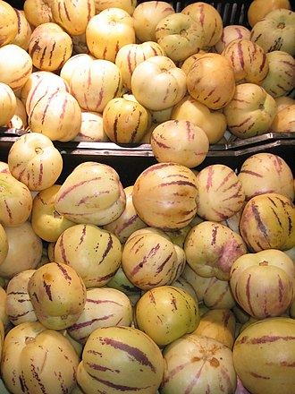 Solanum muricatum - Main commercial variety of Solanum muricatum seen at a supermarket in Lima, Peru.