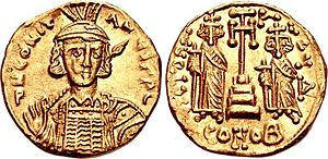 Constantine IV - A solidus showing Constantine and his brothers, minted before 681 when the latter were mutilated.