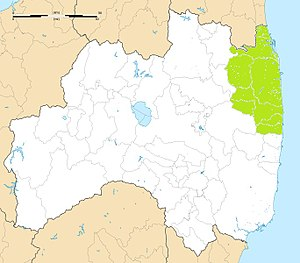 Sōma Nakamura Domain - Map of Sōma Nakamura Domain holdings in the late Edo period.