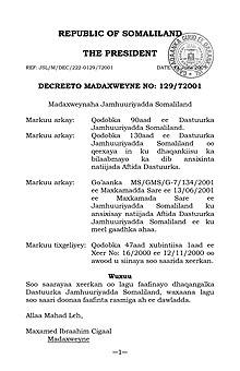 Décret présidentiel sur la Constitution du Somaliland.jpg