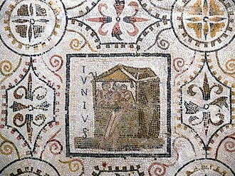 Iunius (month) - June panel from a Roman mosaic of the months (from El Djem, Tunisia, first half of 3rd century AD)