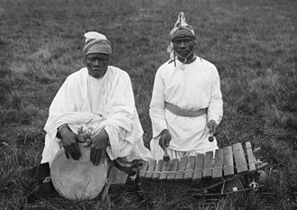 Susu people - Two Susu men with traditional musical instruments in 1935