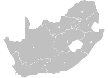 Provinces of South Africa by number