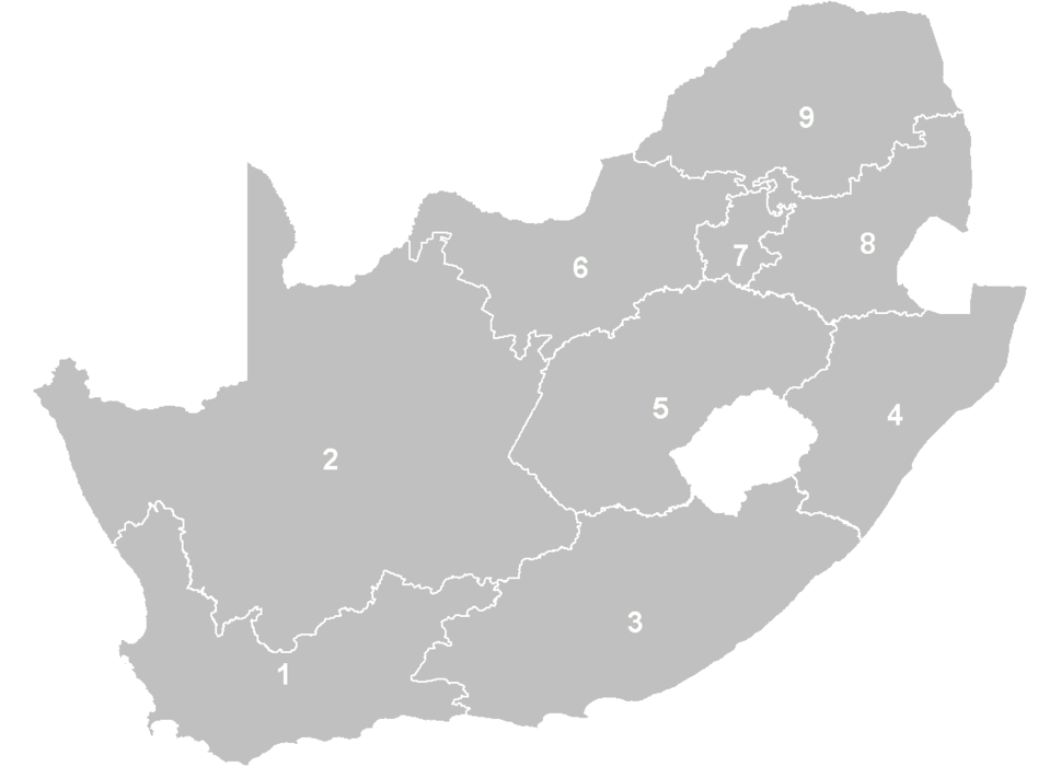 South Africa Provinces numbered