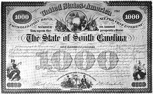 Bond certificate for the state of South Carolina issued in 1873 under the state's Consolidation Act. South Carolina consolidation bond.jpg