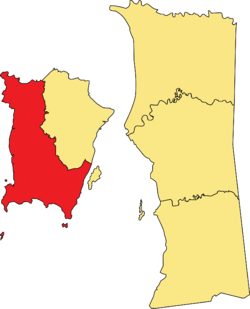 Location of the Southwest Penang Island District within the State of Penang.