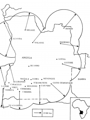 People's Armed Forces of Liberation of Angola - FAPLA's air defence network in 1987.