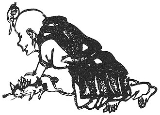 "Bakeneko - ""Shōzan Chomon Kishū"" by Miyoshi Shōzan. Here, a man who has become suspicious of a cat attempts to kill it because it speaks in human language."