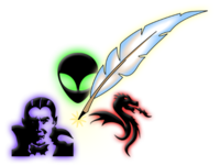 "vampire, face of little green man, feather pen (quill) and fire-breathing dragon – to the right of that are scripted words ""Speculative (over) Fiction"""