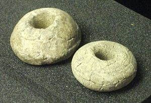 Saxo-Norman - Saxo-Norman clay spindle whorls, on display in the Higgins Art Gallery & Museum